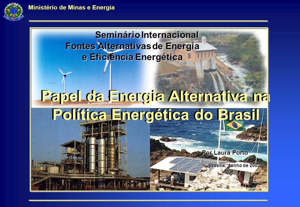 Papel da Energia Alternativa na Política Energética do Brasil Ministério de Minas e Energia Papel da Energia Alternativa na Política Energética do Brasil Por Laura Porto Seminário Internacional Fontes Alternativas de Energia e Eficiência Energética Seminário Internacional Fontes Alternativas de Energia e Eficiência Energética Brasília, Junho de 2002 Brasília, Junho de 2002