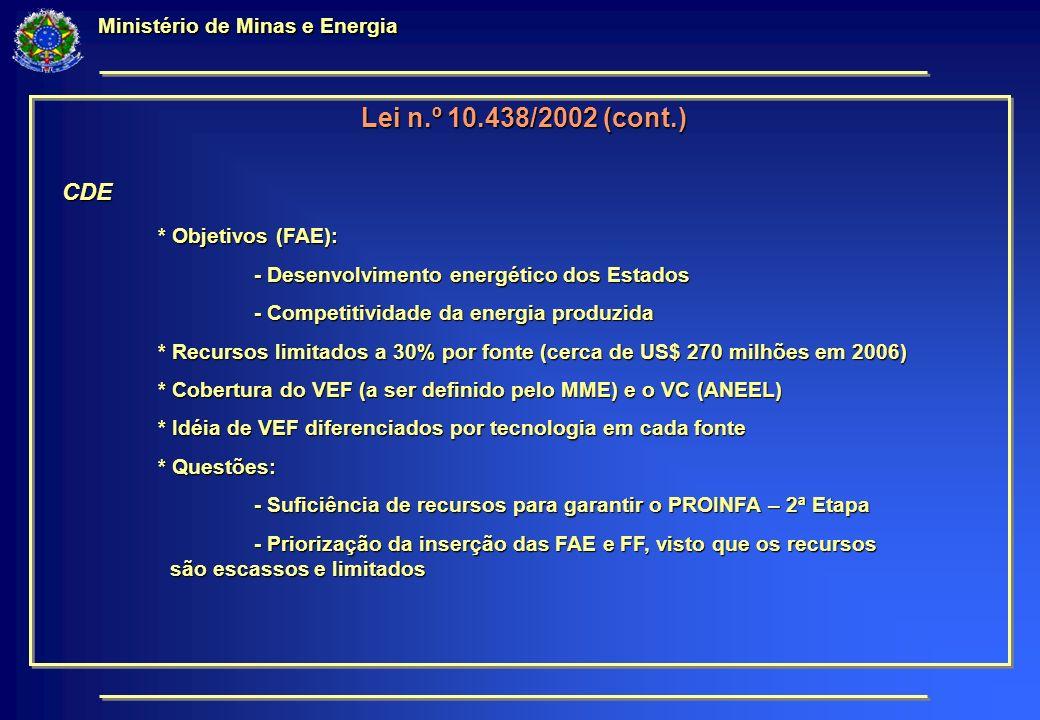 Lei n.º 10.438/2002 (cont.) CDE * Objetivos (FAE): - Desenvolvimento energético dos Estados - Competitividade da energia produzida * Recursos limitados a 30% por fonte (cerca de US$ 270 milhões em 2006) * Cobertura do VEF (a ser definido pelo MME) e o VC (ANEEL) * Idéia de VEF diferenciados por tecnologia em cada fonte * Questões: - Suficiência de recursos para garantir o PROINFA – 2ª Etapa - Priorização da inserção das FAE e FF, visto que os recursos são escassos e limitados