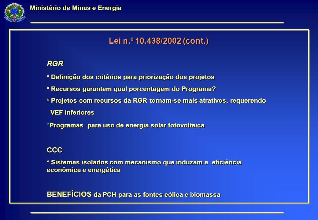 Ministério de Minas e Energia Lei n.º 10.438/2002 (cont.) RGR * Definição dos critérios para priorização dos projetos * Recursos garantem qual porcentagem do Programa.