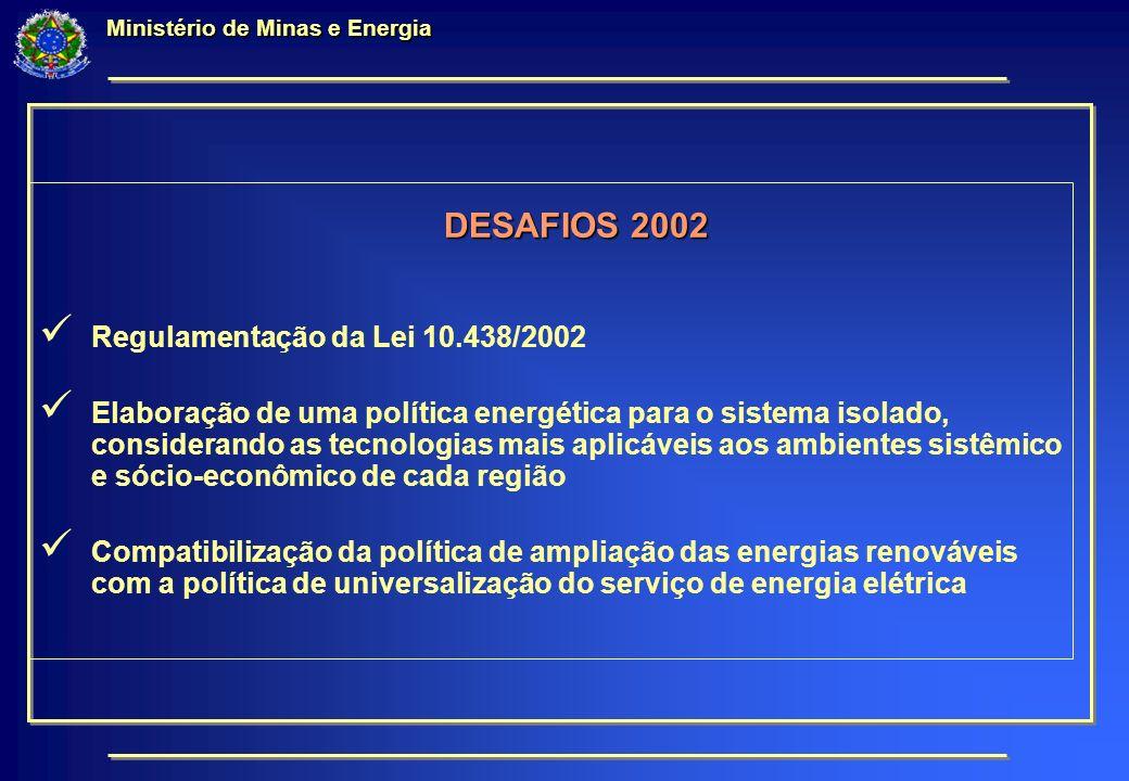 Ministério de Minas e Energia DESAFIOS 2002 Regulamentação da Lei 10.438/2002 Elaboração de uma política energética para o sistema isolado, considerando as tecnologias mais aplicáveis aos ambientes sistêmico e sócio-econômico de cada região Compatibilização da política de ampliação das energias renováveis com a política de universalização do serviço de energia elétrica