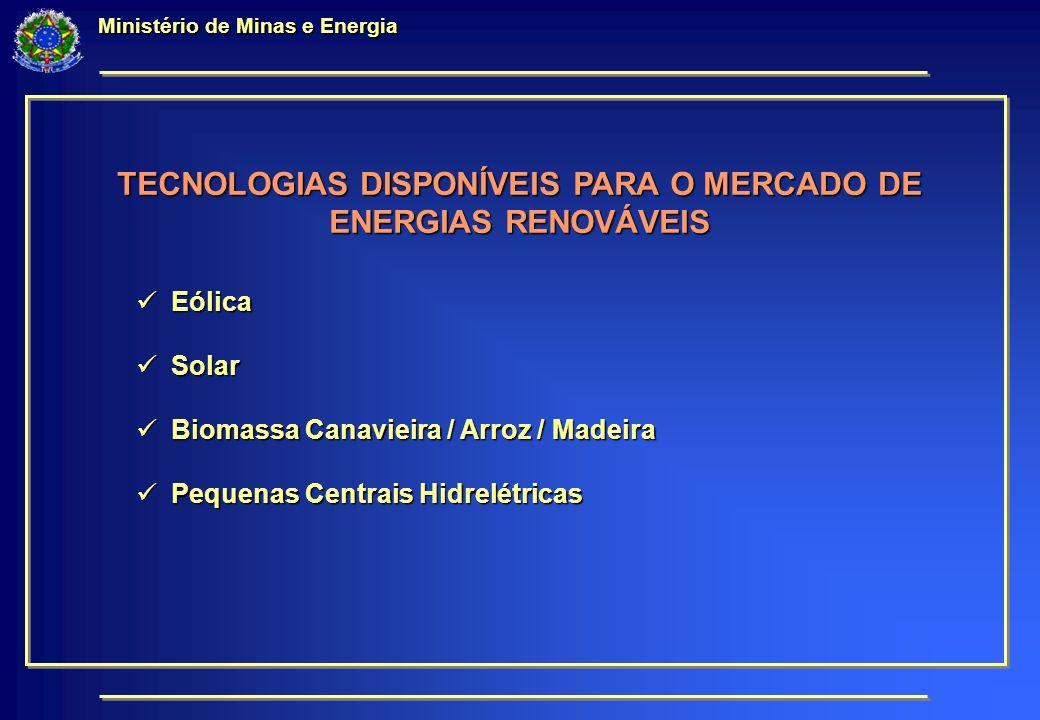 Ministério de Minas e Energia TECNOLOGIAS DISPONÍVEIS PARA O MERCADO DE ENERGIAS RENOVÁVEIS Eólica Eólica Solar Solar Biomassa Canavieira / Arroz / Madeira Biomassa Canavieira / Arroz / Madeira Pequenas Centrais Hidrelétricas Pequenas Centrais Hidrelétricas