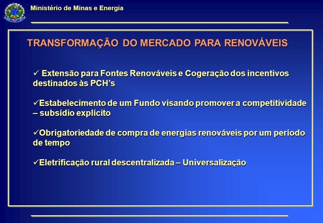 Ministério de Minas e Energia TRANSFORMAÇÃO DO MERCADO PARA RENOVÁVEIS Extensão para Fontes Renováveis e Cogeração dos incentivos destinados às PCHs Extensão para Fontes Renováveis e Cogeração dos incentivos destinados às PCHs Estabelecimento de um Fundo visando promover a competitividade – subsídio explícito Estabelecimento de um Fundo visando promover a competitividade – subsídio explícito Obrigatoriedade de compra de energias renováveis por um período de tempo Obrigatoriedade de compra de energias renováveis por um período de tempo Eletrificação rural descentralizada – Universalização Eletrificação rural descentralizada – Universalização