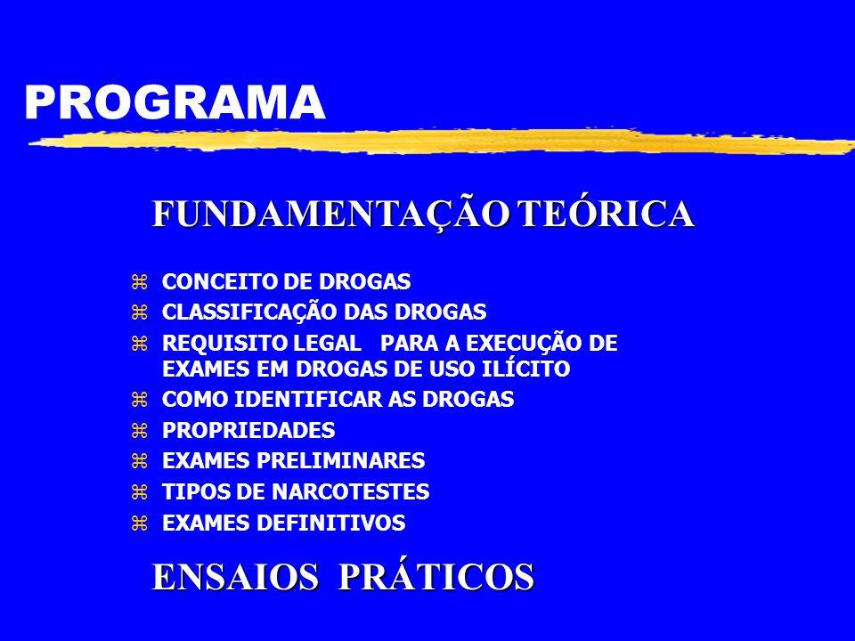 Exames Preliminares zUSO NARCOTESTES (TESTES QUÍMICOS) z DETERMINAÇÃO DE ALGUMAS CONSTANTES FÍSICAS