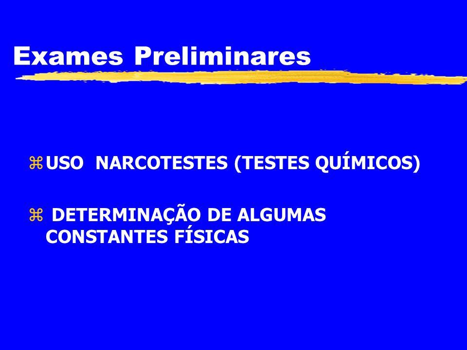EXAMES PRELIMINARES zIDENTIFICAÇÃO DE DROGAS DE FORMA RÁPIDA, PRÁTICA, COM UMA GRANDE PERCENTAGEM DE SEGURANÇA, COM O USO DE REAGENTES MANEJÁVEIS E DE