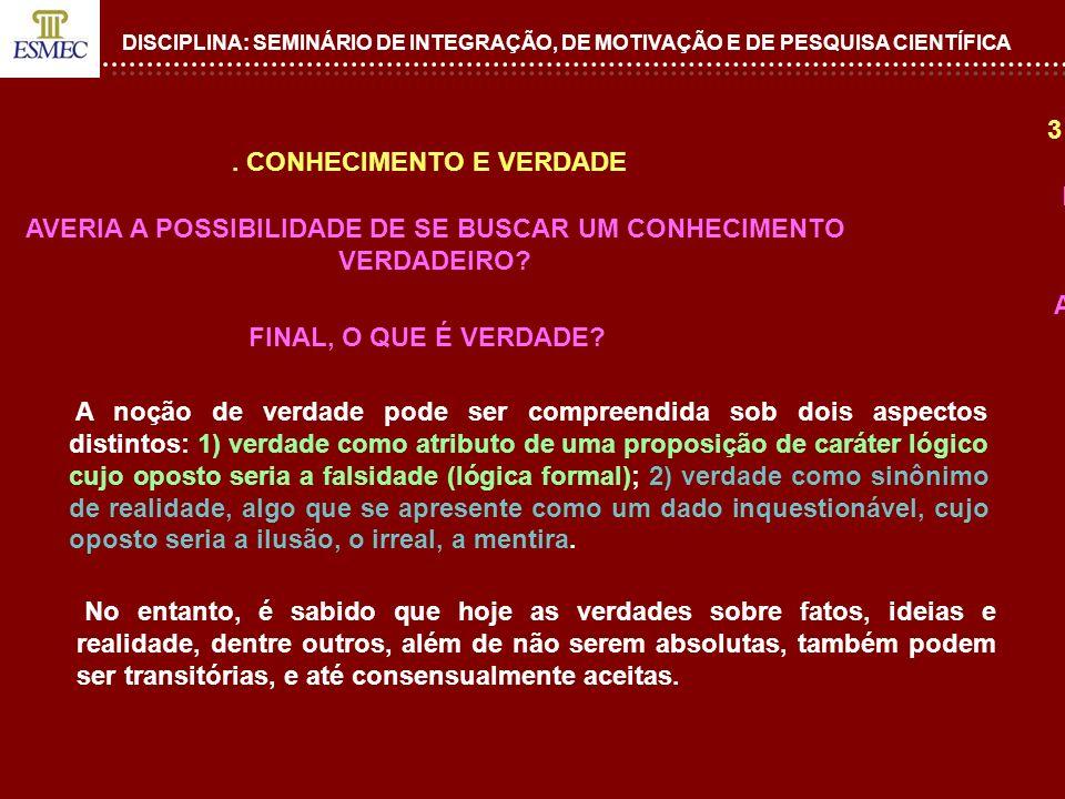 DISCIPLINA: SEMINÁRIO DE INTEGRAÇÃO, DE MOTIVAÇÃO E DE PESQUISA CIENTÍFICA 4.