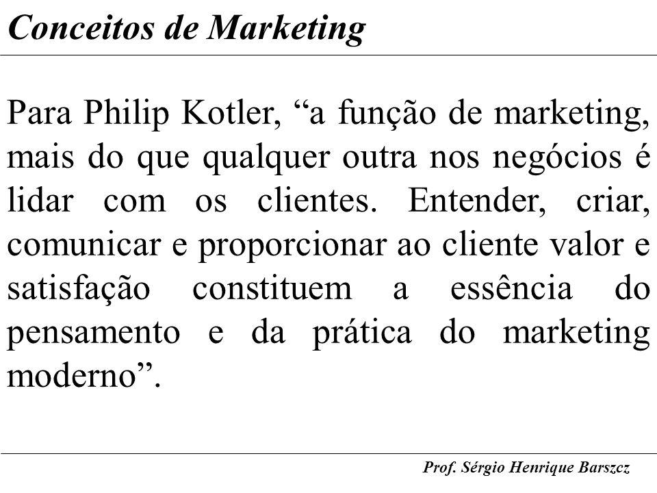 Prof. Sérgio Henrique Barszcz Conceitos de Marketing Para Philip Kotler, a função de marketing, mais do que qualquer outra nos negócios é lidar com os