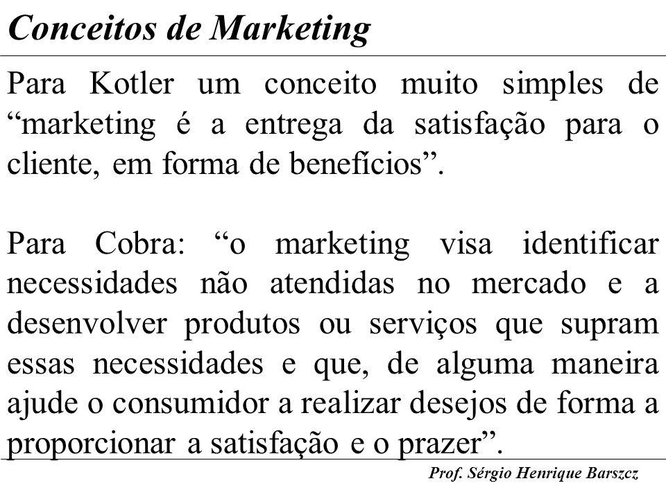 Prof. Sérgio Henrique Barszcz Conceitos de Marketing Para Kotler um conceito muito simples de marketing é a entrega da satisfação para o cliente, em f