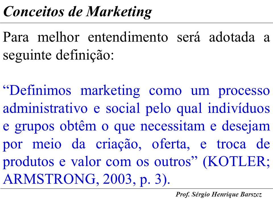 Prof. Sérgio Henrique Barszcz Conceitos de Marketing Para melhor entendimento será adotada a seguinte definição: Definimos marketing como um processo
