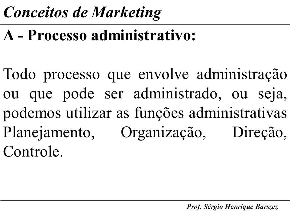 Prof. Sérgio Henrique Barszcz Conceitos de Marketing A - Processo administrativo: Todo processo que envolve administração ou que pode ser administrado