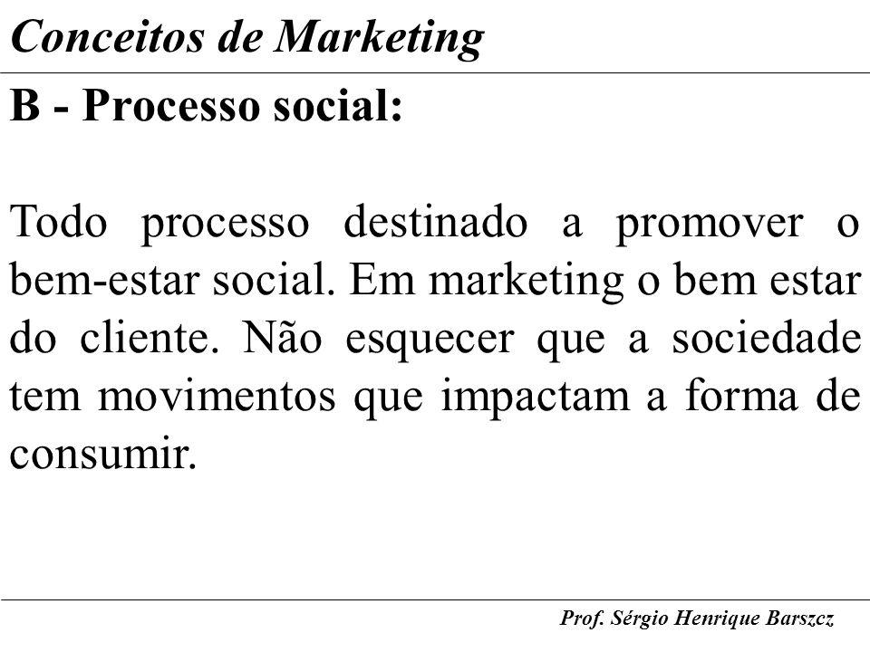 Prof. Sérgio Henrique Barszcz Conceitos de Marketing B - Processo social: Todo processo destinado a promover o bem-estar social. Em marketing o bem es