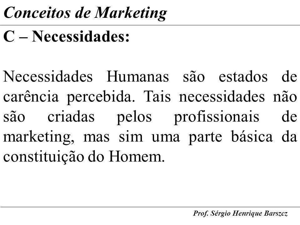 Prof. Sérgio Henrique Barszcz Conceitos de Marketing C – Necessidades: Necessidades Humanas são estados de carência percebida. Tais necessidades não s
