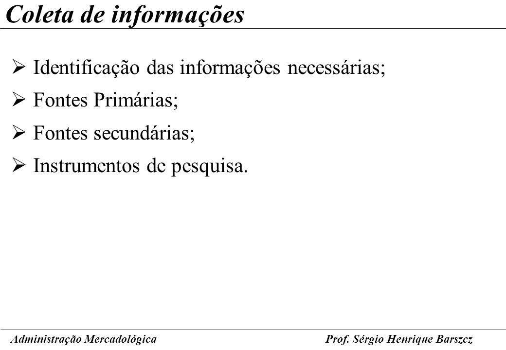 Prof. Sérgio Henrique Barszcz Coleta de informações Identificação das informações necessárias; Fontes Primárias; Fontes secundárias; Instrumentos de p