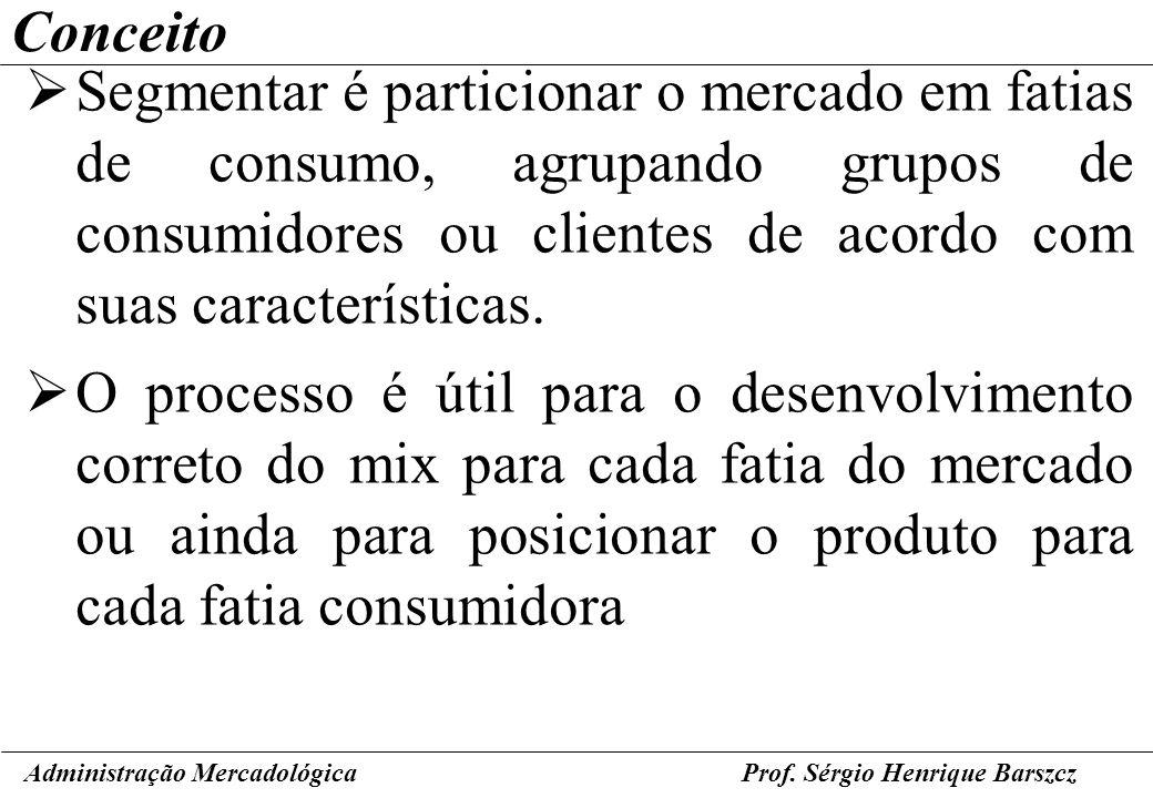 Prof. Sérgio Henrique Barszcz Conceito Segmentar é particionar o mercado em fatias de consumo, agrupando grupos de consumidores ou clientes de acordo