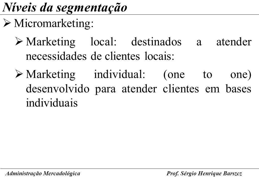 Prof. Sérgio Henrique Barszcz Níveis da segmentação Micromarketing: Marketing local: destinados a atender necessidades de clientes locais: Marketing i