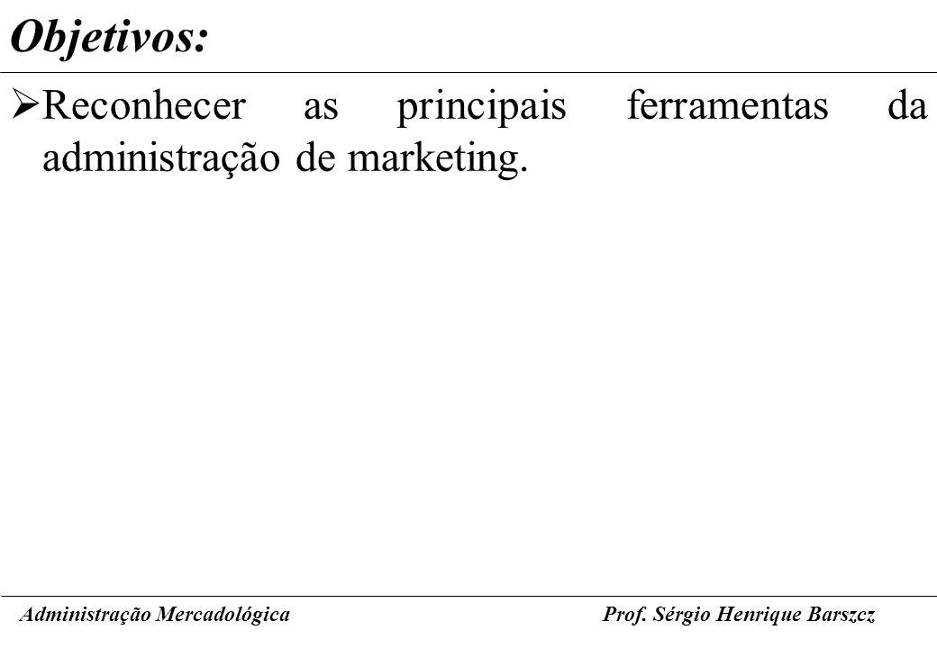 Administração MercadológicaProf. Sérgio Henrique Barszcz Objetivos: Reconhecer as principais ferramentas da administração de marketing.