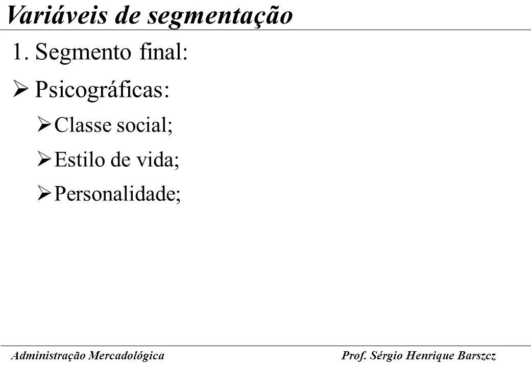 Prof. Sérgio Henrique Barszcz Variáveis de segmentação 1.Segmento final: Psicográficas: Classe social; Estilo de vida; Personalidade; Administração Me