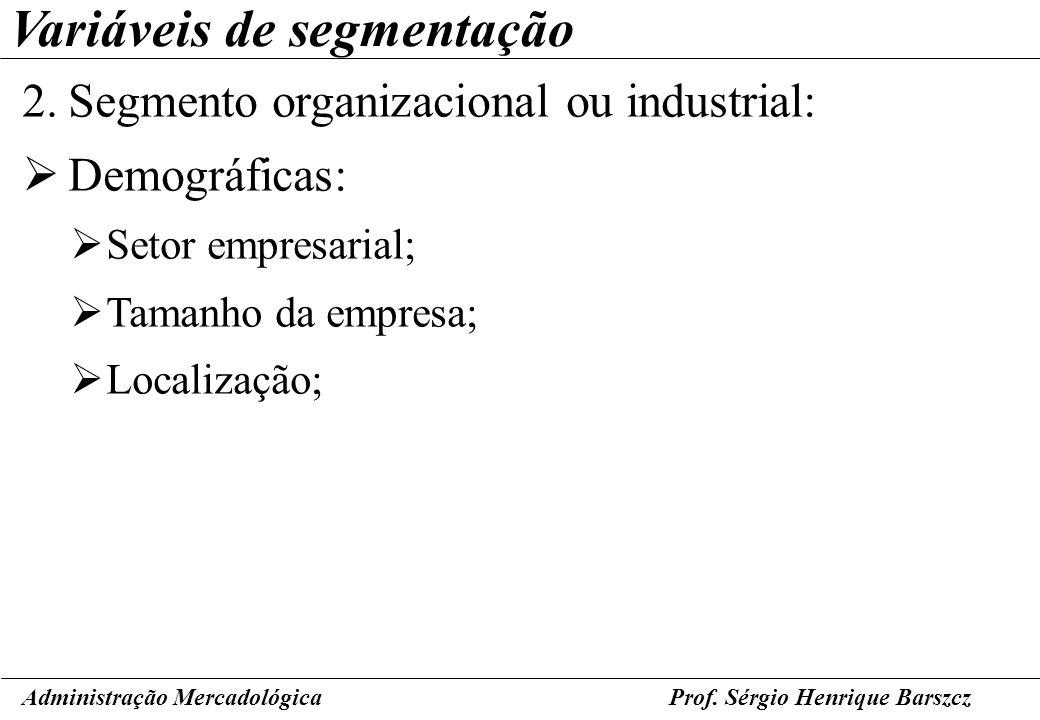 Prof. Sérgio Henrique Barszcz Variáveis de segmentação 2.Segmento organizacional ou industrial: Demográficas: Setor empresarial; Tamanho da empresa; L