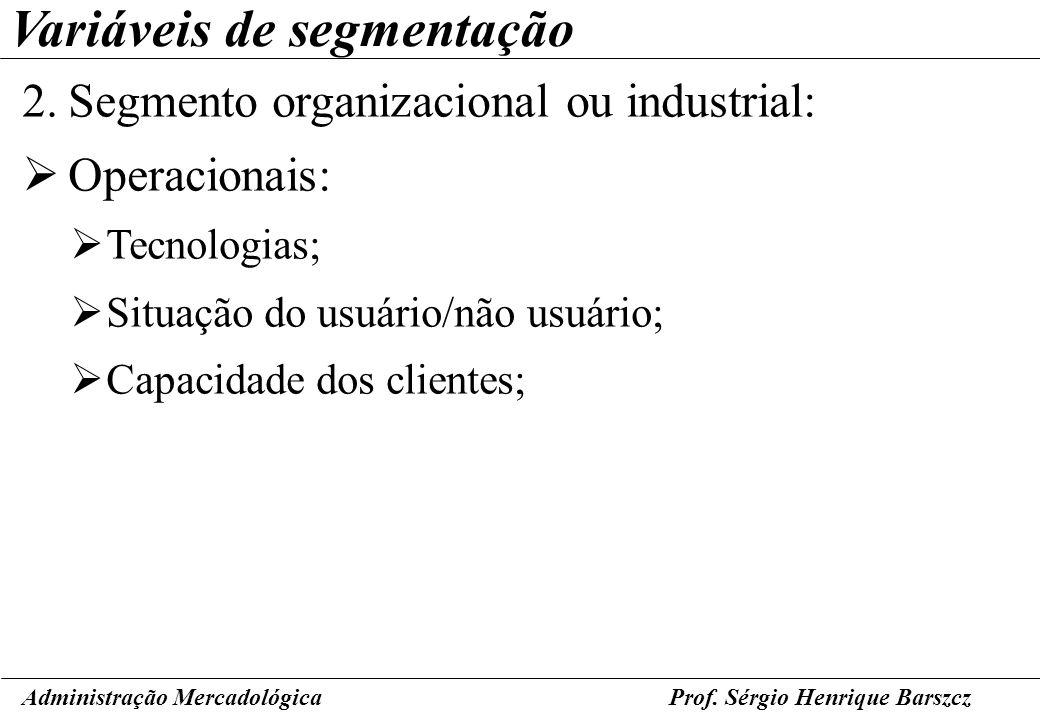 Prof. Sérgio Henrique Barszcz Variáveis de segmentação 2.Segmento organizacional ou industrial: Operacionais: Tecnologias; Situação do usuário/não usu