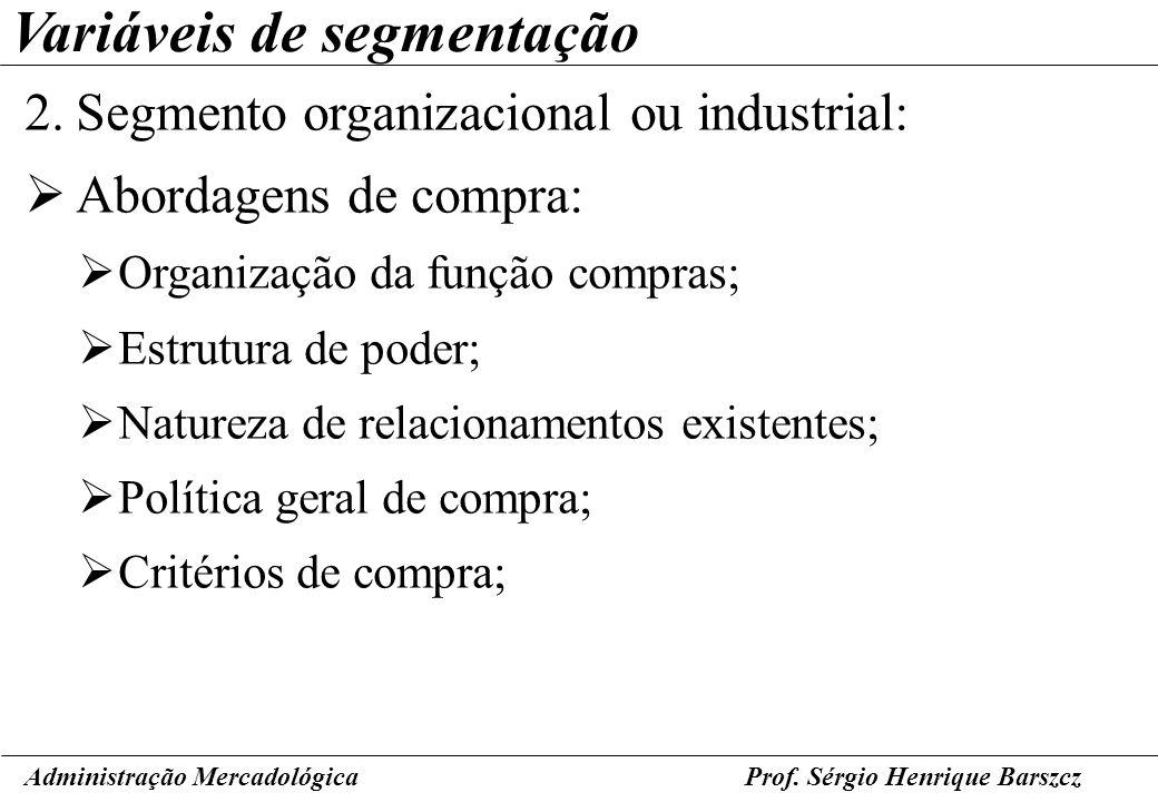 Prof. Sérgio Henrique Barszcz Variáveis de segmentação 2.Segmento organizacional ou industrial: Abordagens de compra: Organização da função compras; E