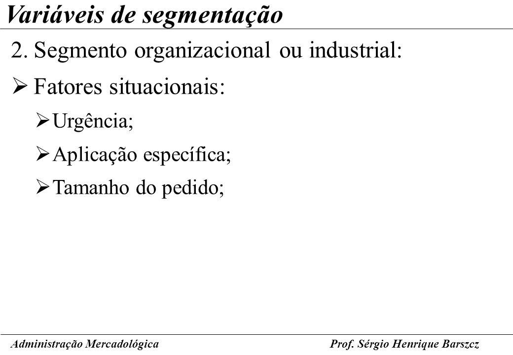 Prof. Sérgio Henrique Barszcz Variáveis de segmentação 2.Segmento organizacional ou industrial: Fatores situacionais: Urgência; Aplicação específica;
