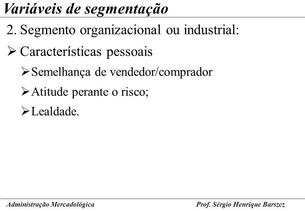 Prof. Sérgio Henrique Barszcz Variáveis de segmentação 2.Segmento organizacional ou industrial: Características pessoais Semelhança de vendedor/compra