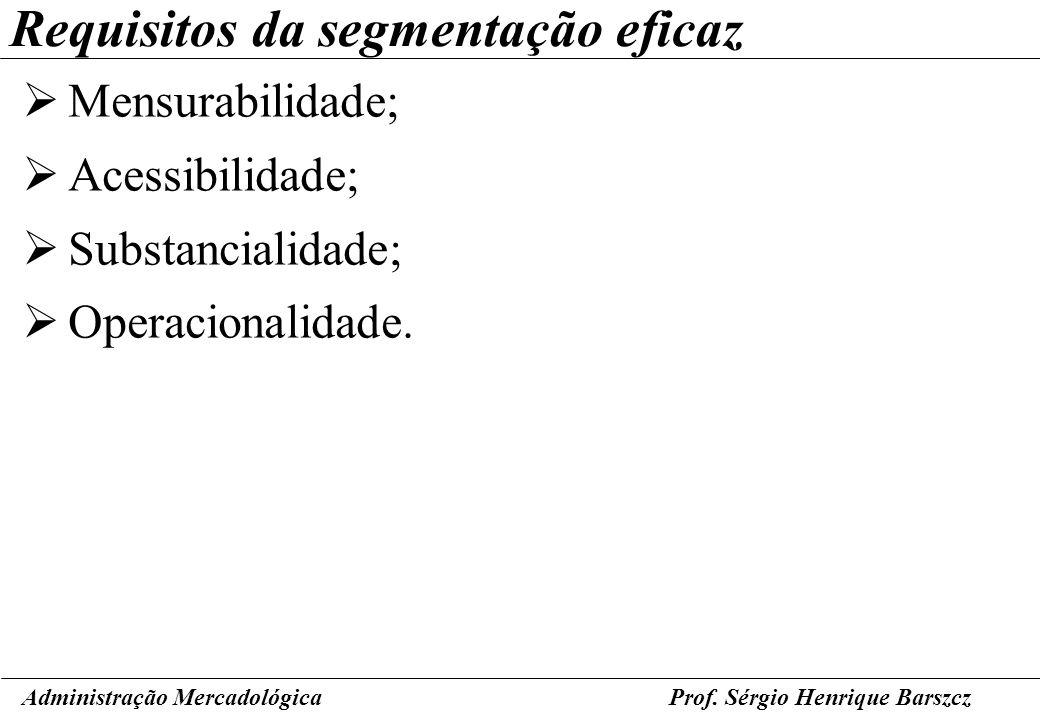 Prof. Sérgio Henrique Barszcz Requisitos da segmentação eficaz Mensurabilidade; Acessibilidade; Substancialidade; Operacionalidade. Administração Merc