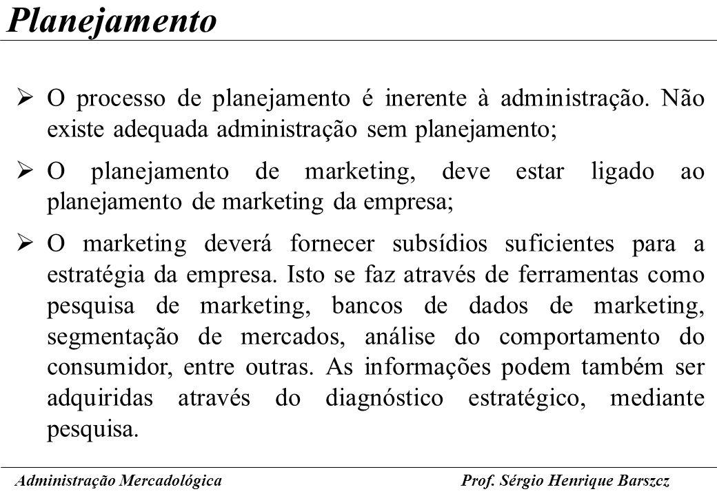 Prof. Sérgio Henrique Barszcz Planejamento O processo de planejamento é inerente à administração. Não existe adequada administração sem planejamento;