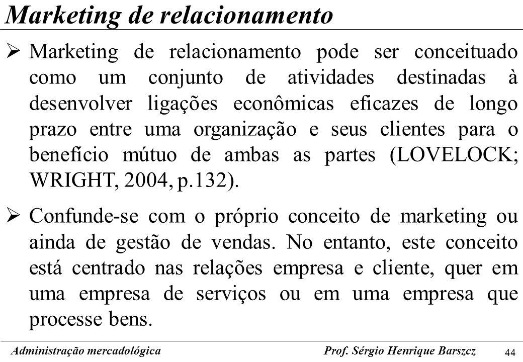 44 Administração mercadológicaProf. Sérgio Henrique Barszcz Marketing de relacionamento Marketing de relacionamento pode ser conceituado como um conju
