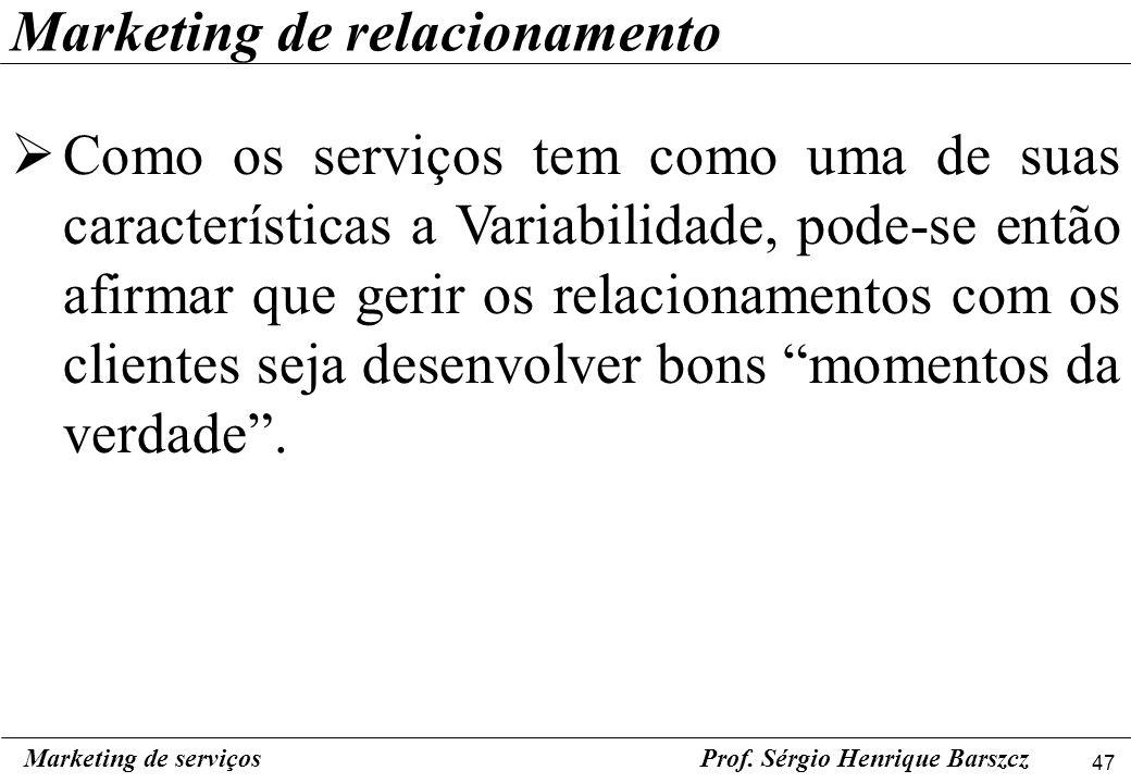 47 Marketing de serviçosProf. Sérgio Henrique Barszcz Marketing de relacionamento Como os serviços tem como uma de suas características a Variabilidad