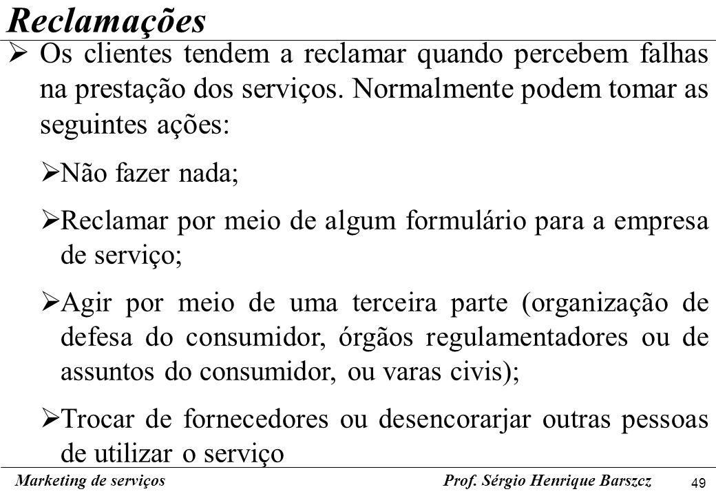 49 Marketing de serviçosProf. Sérgio Henrique Barszcz Reclamações Os clientes tendem a reclamar quando percebem falhas na prestação dos serviços. Norm