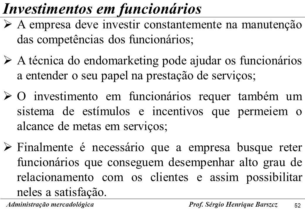 52 Administração mercadológicaProf. Sérgio Henrique Barszcz Investimentos em funcionários A empresa deve investir constantemente na manutenção das com