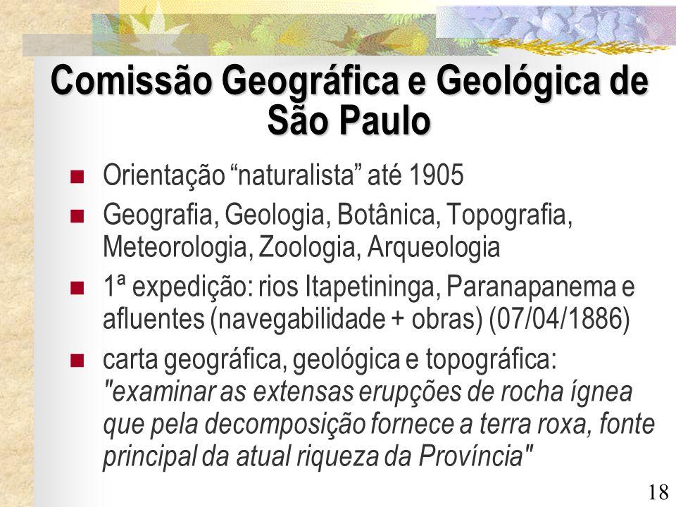 18 Comissão Geográfica e Geológica de São Paulo Orientação naturalista até 1905 Geografia, Geologia, Botânica, Topografia, Meteorologia, Zoologia, Arq