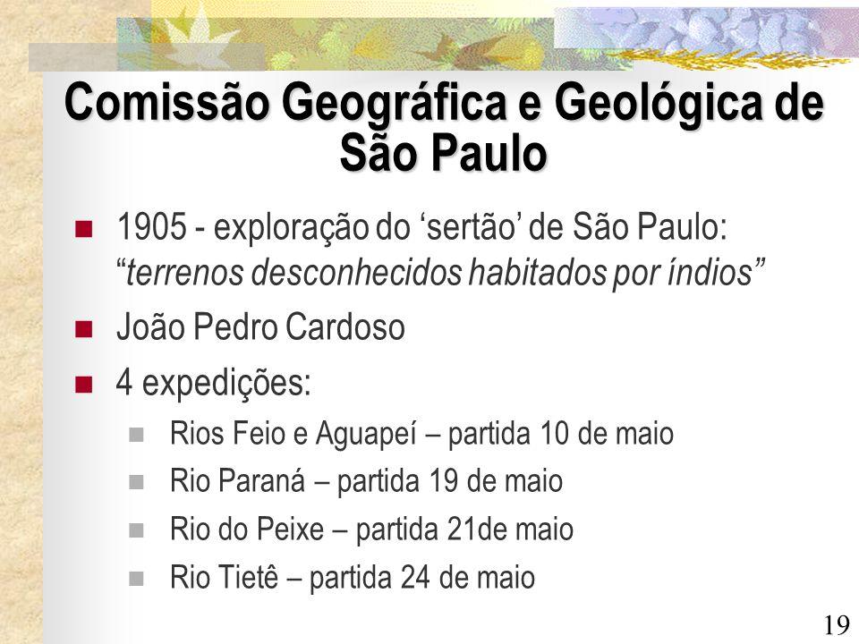19 Comissão Geográfica e Geológica de São Paulo 1905 - exploração do sertão de São Paulo: terrenos desconhecidos habitados por índios João Pedro Cardo