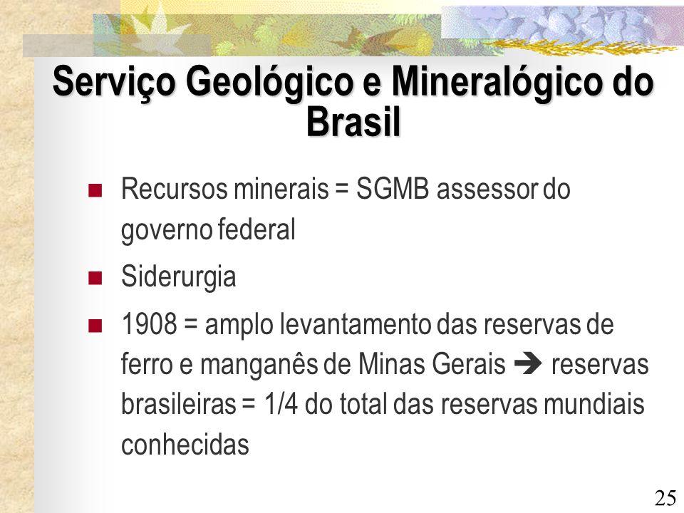 25 Serviço Geológico e Mineralógico do Brasil Recursos minerais = SGMB assessor do governo federal Siderurgia 1908 = amplo levantamento das reservas d