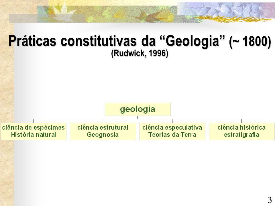 3 Práticas constitutivas da Geologia (~ 1800) (Rudwick, 1996)