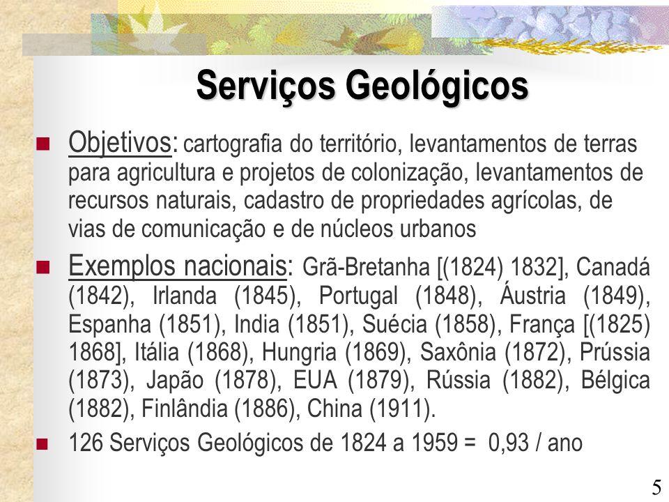 5 Serviços Geológicos Objetivos: cartografia do território, levantamentos de terras para agricultura e projetos de colonização, levantamentos de recur