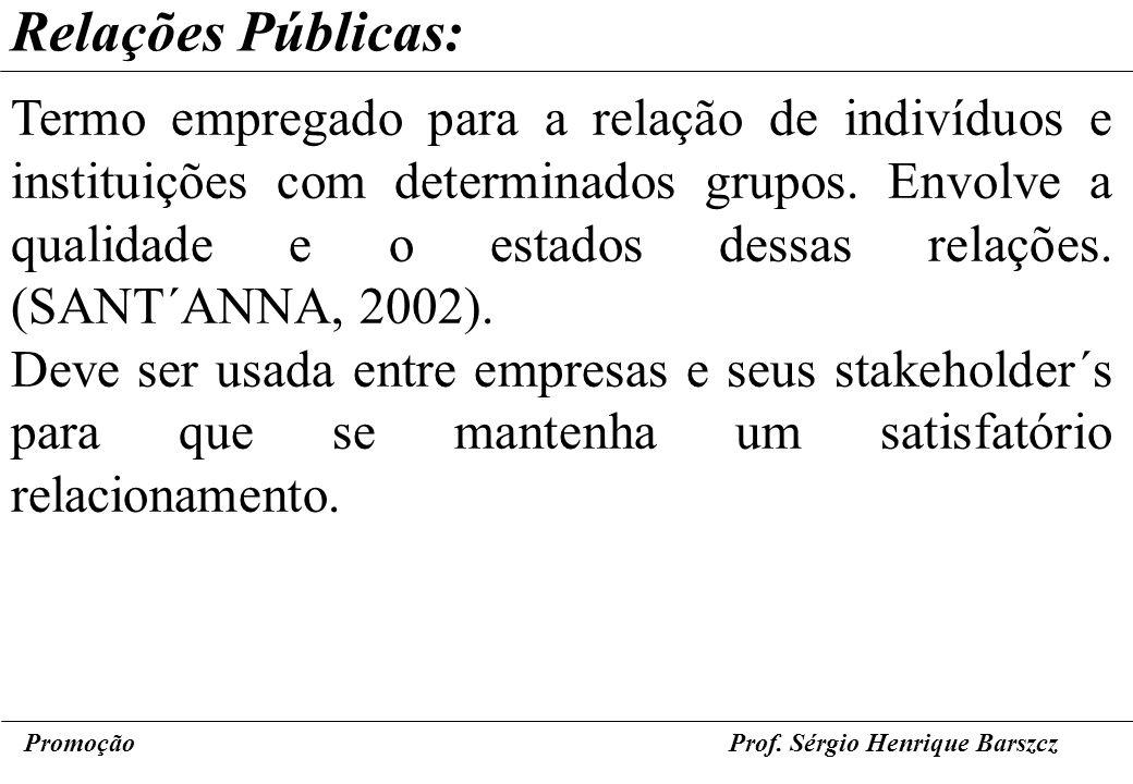 PromoçãoProf. Sérgio Henrique Barszcz Relações Públicas: Termo empregado para a relação de indivíduos e instituições com determinados grupos. Envolve