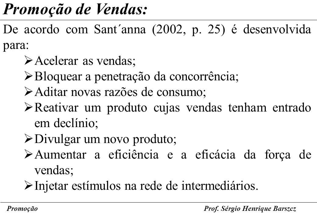 PromoçãoProf. Sérgio Henrique Barszcz Promoção de Vendas: De acordo com Sant´anna (2002, p. 25) é desenvolvida para: Acelerar as vendas; Bloquear a pe