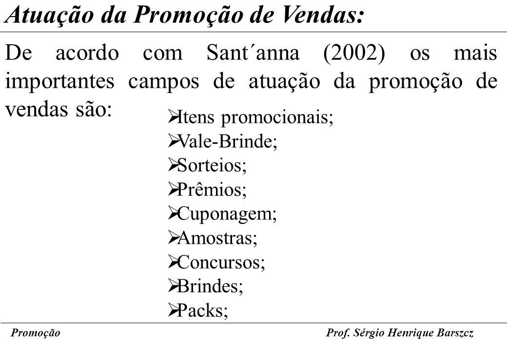PromoçãoProf. Sérgio Henrique Barszcz Atuação da Promoção de Vendas: De acordo com Sant´anna (2002) os mais importantes campos de atuação da promoção