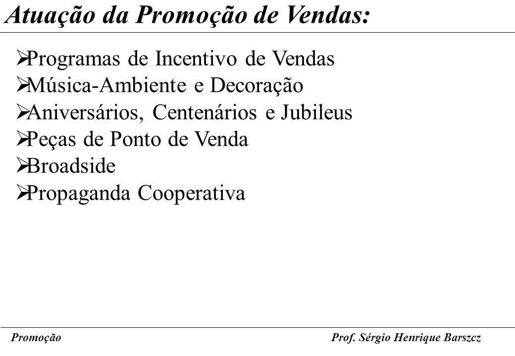 PromoçãoProf. Sérgio Henrique Barszcz Atuação da Promoção de Vendas: Programas de Incentivo de Vendas Música-Ambiente e Decoração Aniversários, Centen