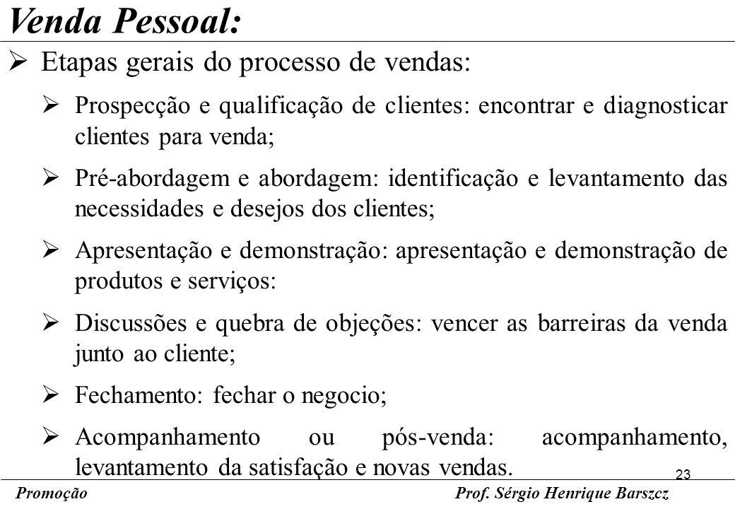 23 PromoçãoProf. Sérgio Henrique Barszcz Venda Pessoal: Etapas gerais do processo de vendas: Prospecção e qualificação de clientes: encontrar e diagno