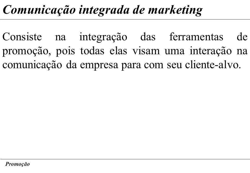 Promoção Comunicação integrada de marketing Consiste na integração das ferramentas de promoção, pois todas elas visam uma interação na comunicação da