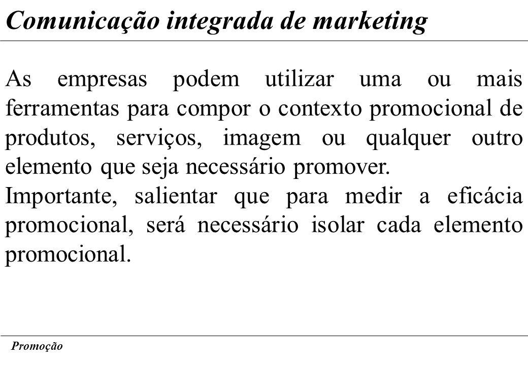 Promoção Comunicação integrada de marketing As empresas podem utilizar uma ou mais ferramentas para compor o contexto promocional de produtos, serviço