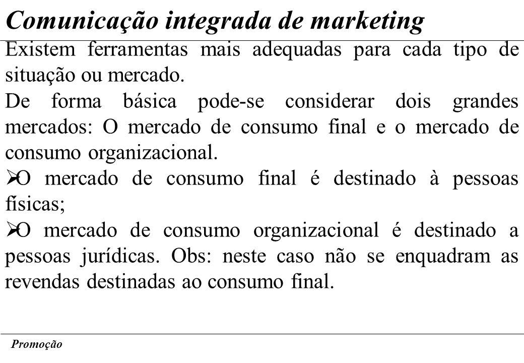 Promoção Comunicação integrada de marketing Existem ferramentas mais adequadas para cada tipo de situação ou mercado. De forma básica pode-se consider
