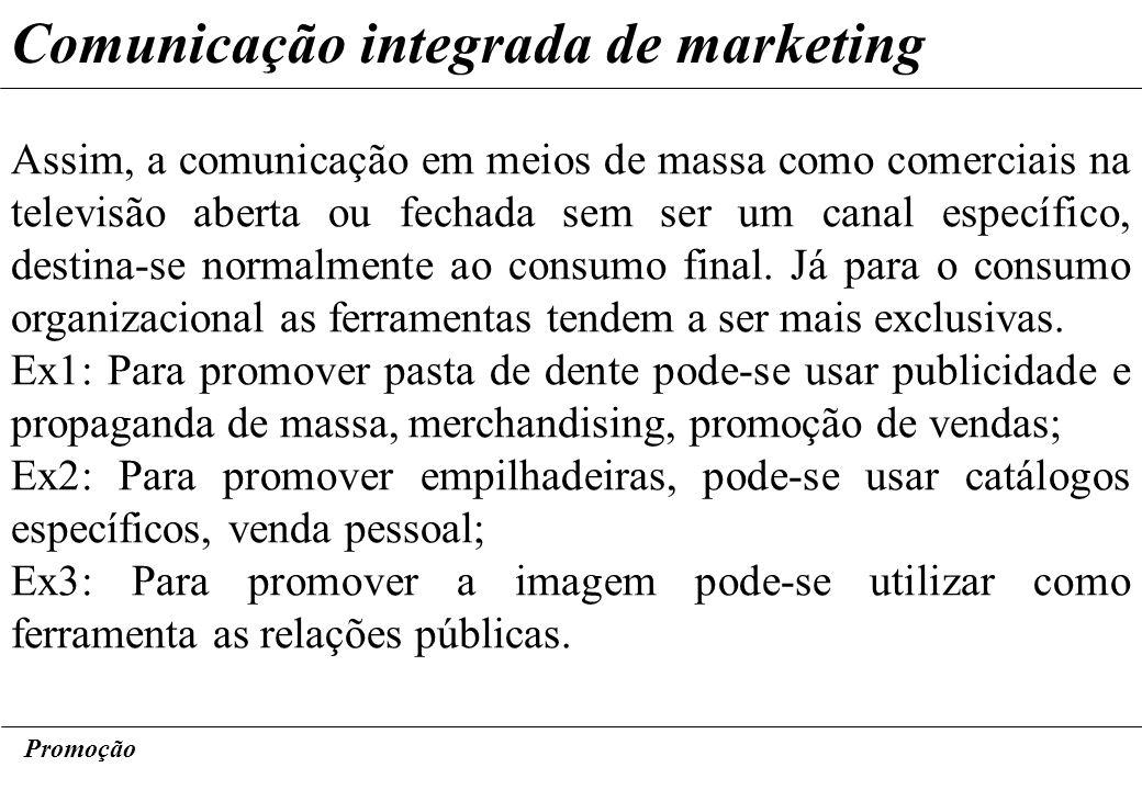 Promoção Comunicação integrada de marketing Assim, a comunicação em meios de massa como comerciais na televisão aberta ou fechada sem ser um canal esp