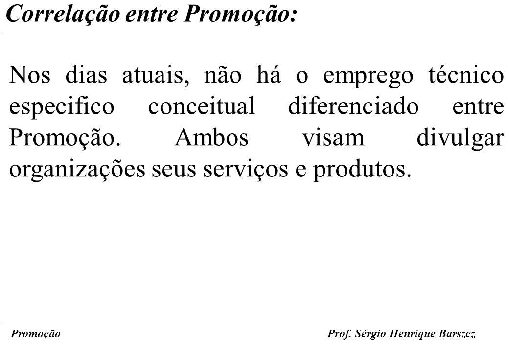 PromoçãoProf. Sérgio Henrique Barszcz Correlação entre Promoção: Nos dias atuais, não há o emprego técnico especifico conceitual diferenciado entre Pr