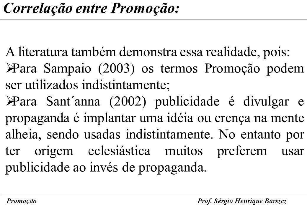 PromoçãoProf. Sérgio Henrique Barszcz Correlação entre Promoção: A literatura também demonstra essa realidade, pois: Para Sampaio (2003) os termos Pro