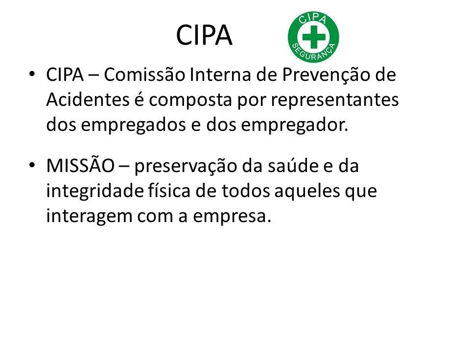 CIPA CIPA – Comissão Interna de Prevenção de Acidentes é composta por representantes dos empregados e dos empregador. MISSÃO – preservação da saúde e