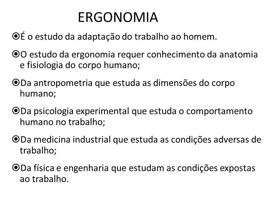 ERGONOMIA É o estudo da adaptação do trabalho ao homem. O estudo da ergonomia requer conhecimento da anatomia e fisiologia do corpo humano; Da antropo