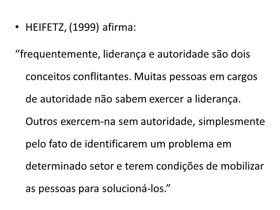 HEIFETZ, (1999) afirma: frequentemente, liderança e autoridade são dois conceitos conflitantes.
